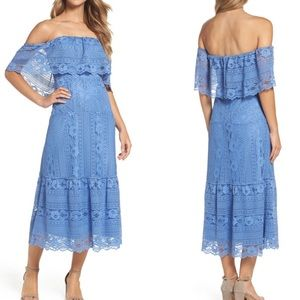 NWT BB Dakota Lace Off Shoulder Blue Midi Dress